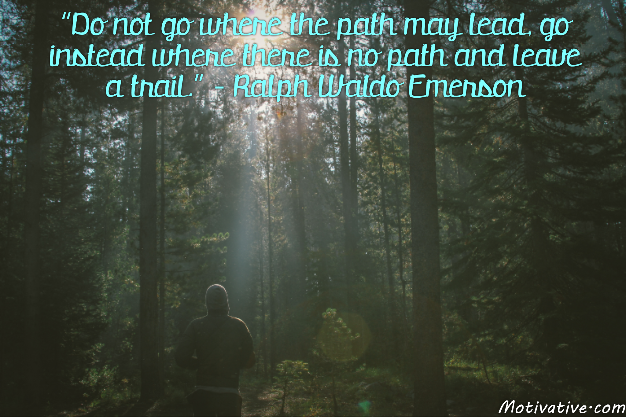 Do not go where the path may lead, go instead where there is no path and leave a trail. – Ralph Waldo Emerson