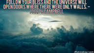 Follow your bliss and the universe will open doors where there were only walls. – Joseph Campbell