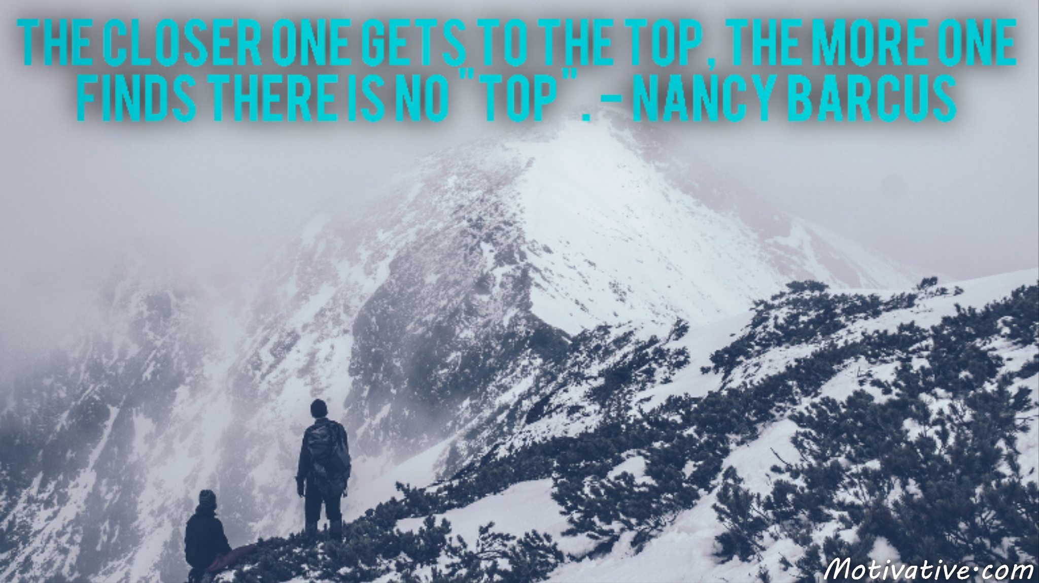 "The closer one gets to the top, the more one finds there is no ""top"". – Nancy Barcus"