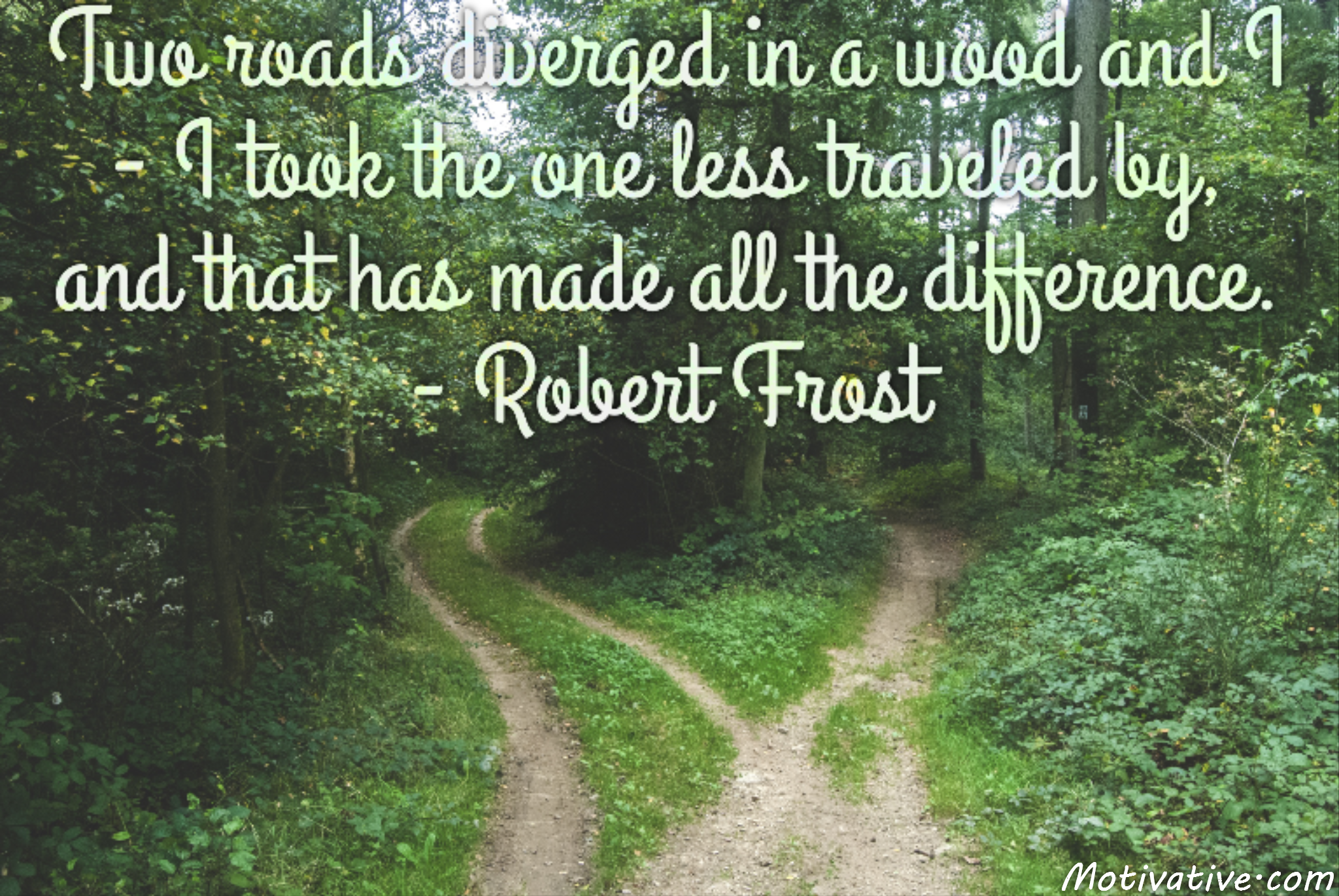Two roads diverged in a wood and I – I took the one less traveled by, and that has made all the difference. – Robert Frost