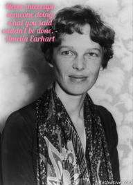 Never interrupt someone doing what you said couldn't be done. – Amelia Earhart