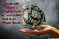 The man who removes a mountain begins by carrying away small stones. – Chinese Proverb