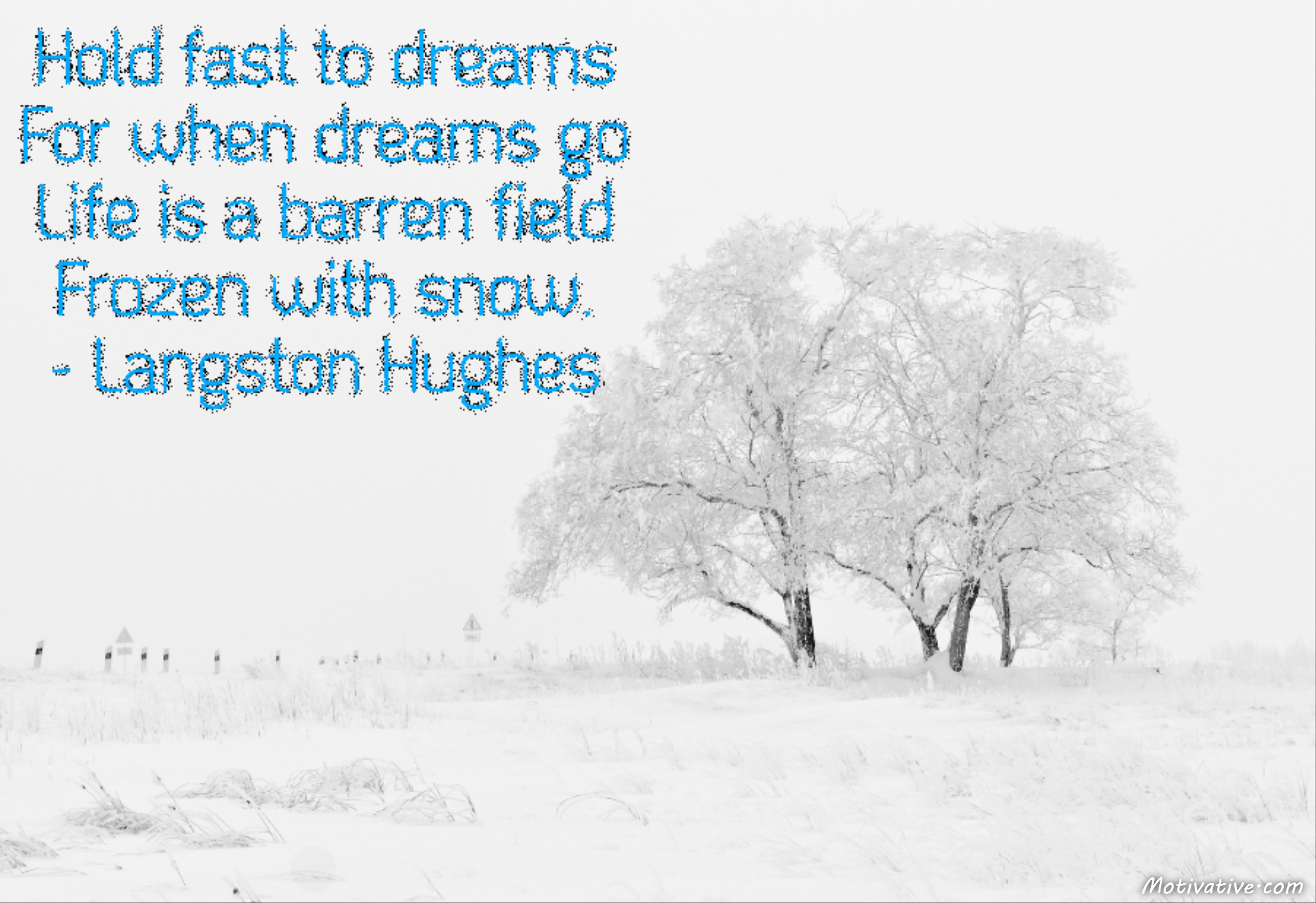 Hold fast to dreams  For when dreams go  Life is a barren field  Frozen with snow.  – Langston Hughes
