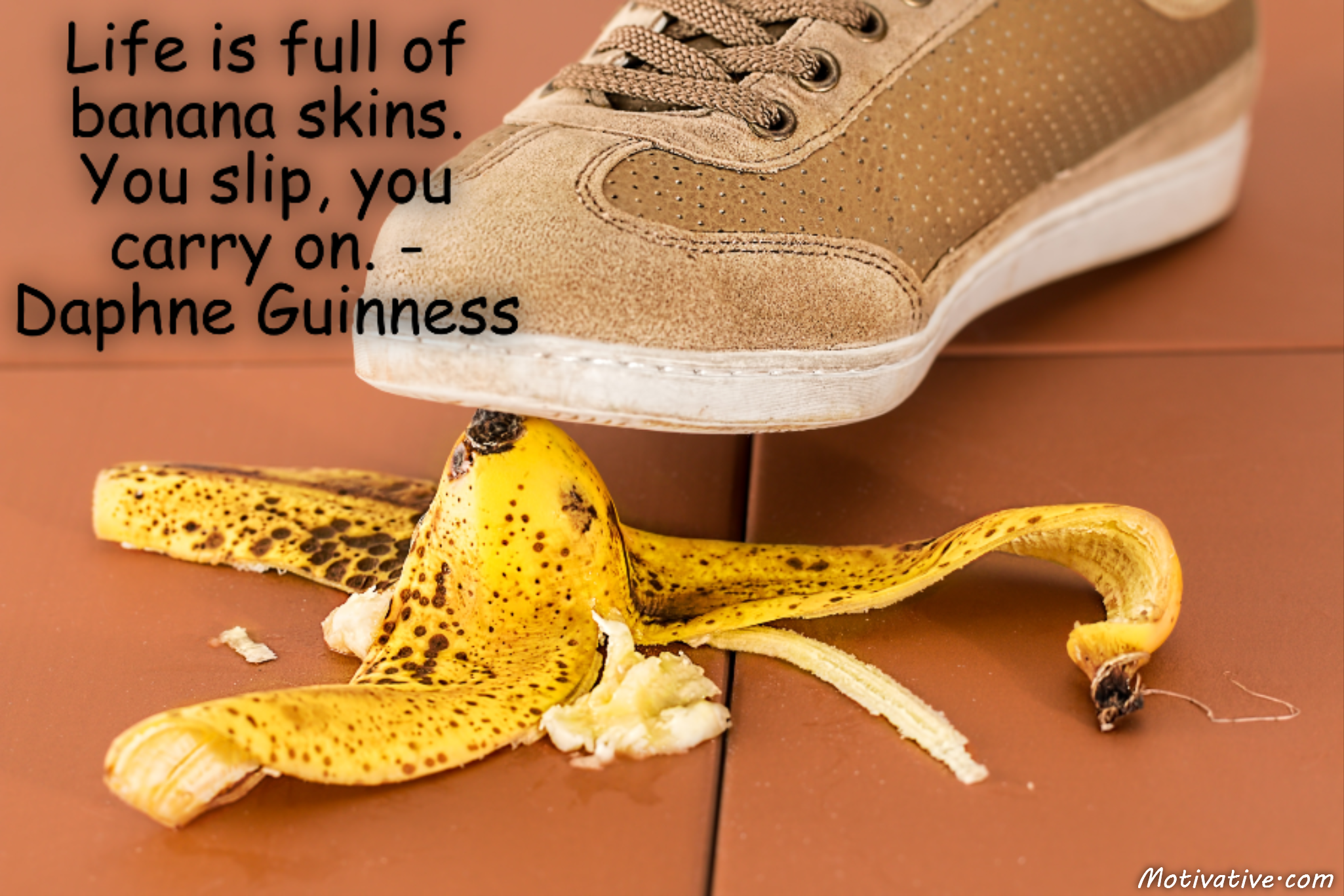 Life is full of banana skins. You slip, you carry on. – Daphne Guinness