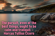 The pursuit, even of the best things, ought to be calm and tranquil. – Marcus Tullius Cicero
