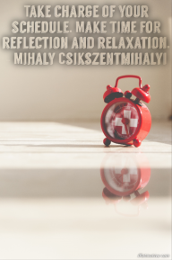 Take charge of your schedule. Make time for reflection and relaxation. – Mihaly Csikszentmihalyi