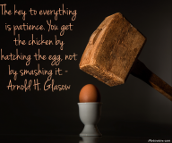 The key to everything is patience. You get the chicken by hatching the egg, not by smashing it. – Arnold H. Glasow